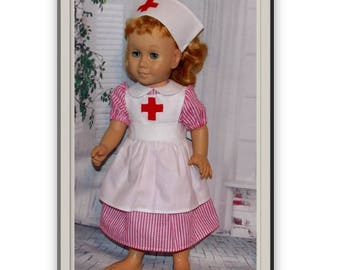Nurse, Candy Striper or Red Cross worker. Dress, Apron & Nurse Cap. Toy dolls Clothes ( Clothes only, Chatty Cathy doll is not included)