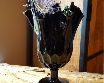 Vintage Black Amethyst Glass Fenton Thumbprint Handkerchief Vase