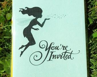 Fairy Invitation - Birthday Invitation - Baby Shower Invitation - Wedding Invitation - Invite - (20) Cards & Envelopes