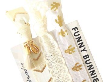 GOLDEN BAY TASSEL - 3 bracelets / hair ties - funnybunnies supersoft