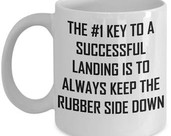 Flight Instructor Mug - #1 Key To Landing Keep Rubber Side Down - Coffee Cup