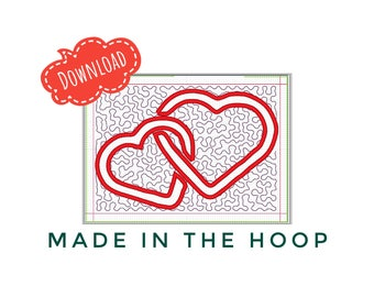 In the hoop, Mug Rug, Entwined Hearts, Machine Embroidery design, 5x7 hoop, Multiple Formats, Instant Download