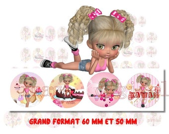 digital images 50 mm and 60mm for mirrors or other print miss kawai cake