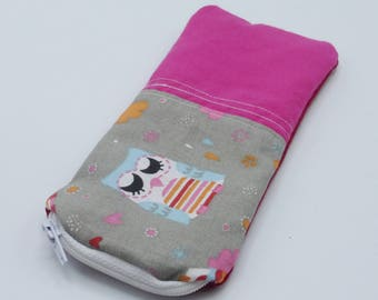 Cotton fuchsia and Red owls glasses case