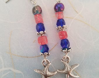 Sunset Starfish Crystal Earrings
