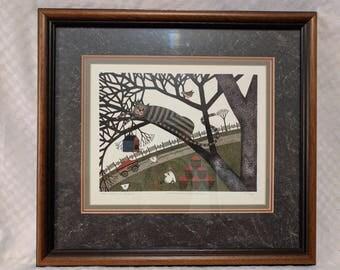 VINTAGE Catherine Grunewald Signed Cat Print 'This Tree is Taken'