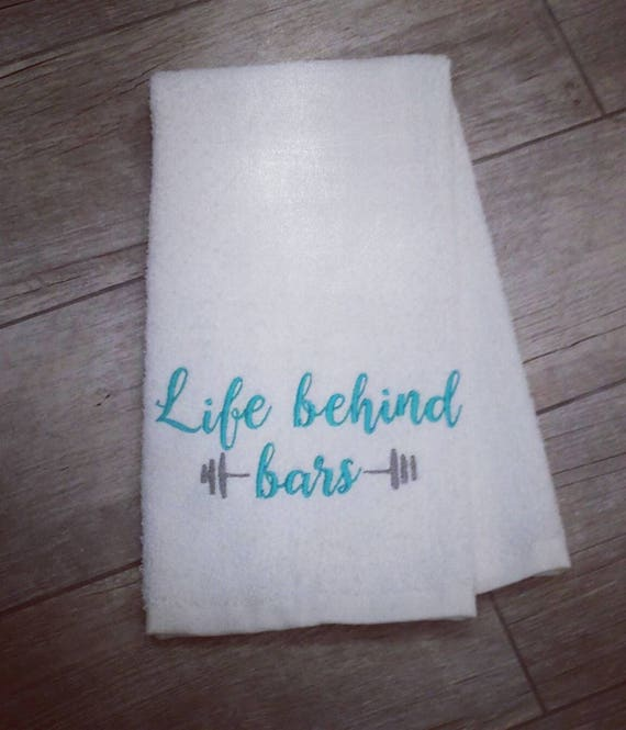 Life Behind Bars Sweat Towel Gym Towel Embroidered Hand