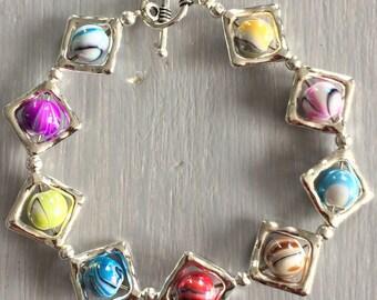 Bracelet fancy bead multi color silver