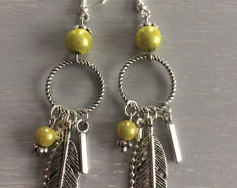 Earrings dangling yellow-green color