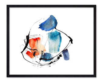 The Musician - Blue Abstract Painting Print - Watercolor Painting - Urban painting- Art Print