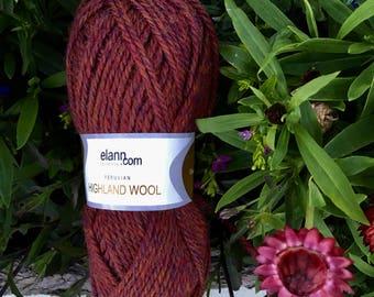 Highland Wool Yarn by Elann Spun in Peru Deep Rich Chestnut Brown with Violet and Gold Flecks Soft Yarn