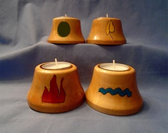 Handmade & Hand-Painted Wooden Tea-Light Holders (Set Of 4)  *The Elements, Earth, Air, Fire, Water*  Plus (FREE pack of 4 White Tealights)