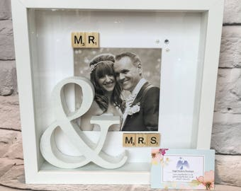 Mrs and Mrs Wedding Frame / wedding gift / his and hers / bride and groom gift / photo frame / wedding photo frame.