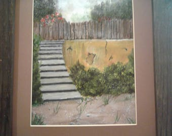 Garden Staircase Oil Painting