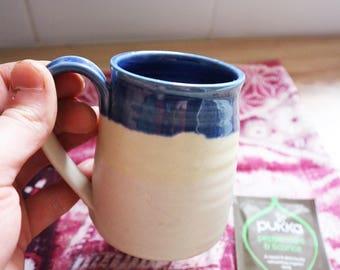 mug, tableware, bubbleware, handmade mug, ceramic mug, stoneware mug, handmade, blue and yellow mug, wheel thrown mug