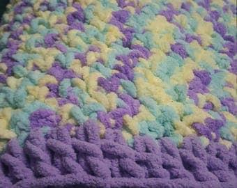 Crochet Baby Blanket Purple Teal Colors