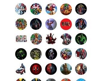 MARVEL Digital collage printable 1 inch bottle cap circle images