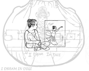 DIGITAL STAMP,coloring page, ballerina
