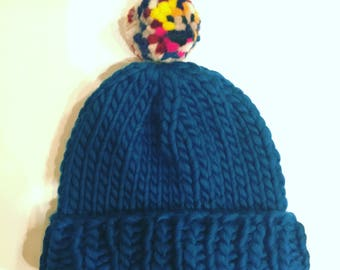 Chunky Knitted Beanie Hat + Pom Pom (100% Wool) - Dark Turquoise/Mix Contrast