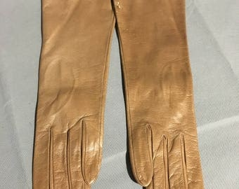 Vintage Light Brown Italian Soft Leather Gloves Size 6 1/2