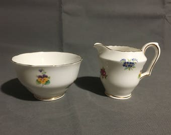 Vintage Staffordshire England Cream and Sugar Bowl Set White with Flowers Fine Bone China