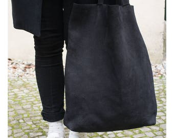 leather tote bag, women tote bag in black leather