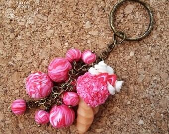 Keychain charm, Strawberry ice cream charm, Polymer clay charm