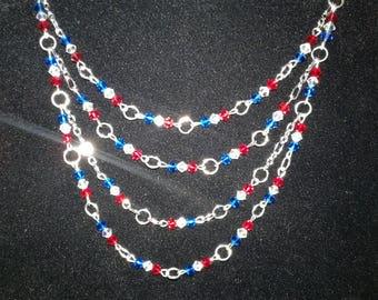 Patriotic Swarovski Crystal Chain Necklace