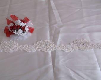 Ivory Corded Beaded Rhinestone Flower Lace