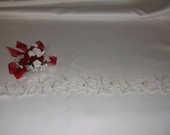 White Silver/Rhinestone Beaded Organza Lace
