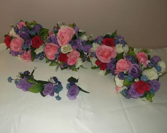 Pre Made Pink/Lilac/Ivory Wedding Bouquets