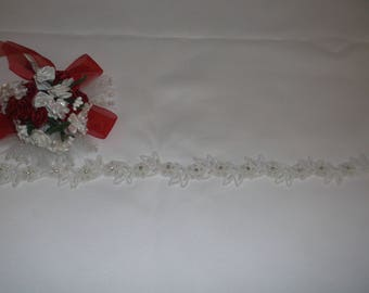 White Rhinestone/Pearl Beaded Flower Lace