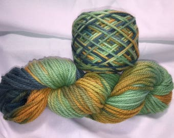 Harvested Squash, Bulky Weight, Hand Painted, Multi Color, Hand Dyed Yarn, Superwash Merino, Yarn