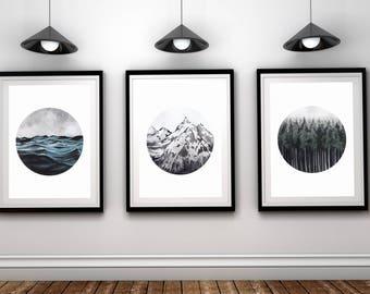 Set of 3 Landscape Art, Forest Ocean Mountain Printable, Set of 3 Nature Prints, Nature Printable, 3 Piece Wall Art, Modern, Minimalist