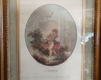 The love of Fragonard and Janinet authentic 18th century engraving