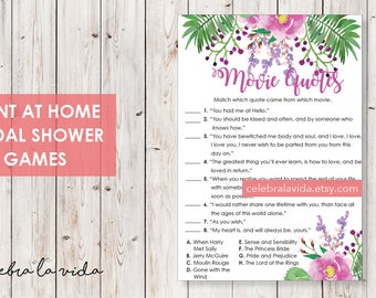 Movie Quotes Bridal Shower Game. Instant Download. Printable Bridal Shower Game. Pink and Purple Flowers. - 03