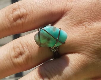 Handmade Natural Turquoise Wire-Wrapped Ring
