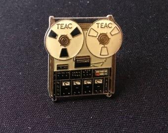 Teac tape recorder Tascam Reel music Vintage Enamel Pin