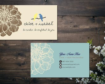 PERSONALIZED Chloe and Isabel Business Card, Custom Chloe and Isabel Card, Fast Free Personalization, Printable Business Card CL05