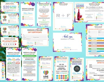 PERSONALIZED Rodan and Fields Marketing Kit, Rodan + Fields Marketing Bundle, R and F Marketing Package, Rodan and Fields Business Card RF17