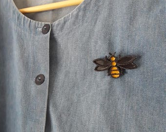 1980s Hand-painted Bumblebee Broach