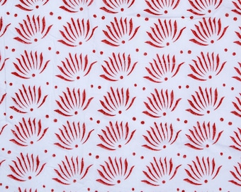 Hand Block Flower print,Red color , 1 Yard