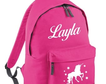 iLeisure Girls Name with Unicorn Printed School Back Pack, Rucksack