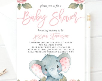 Elephant baby shower invitation, cute elephant and flowers baby shower invitation,Vintage elephant baby shower invitation, pink elephant