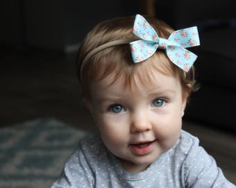 Blue Floral Bow Headband
