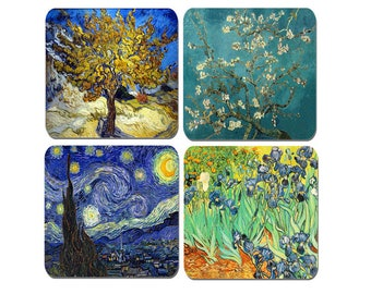 Vincent Van Gogh High Quality Cork Coasters Set Of 4. Art Drinks Coaster Irises, Blossoming Almond Tree, Starry Night, Mulberry Tree