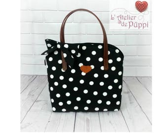 Handle bag - DOTTI - cotton polka dots - black/white