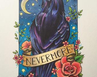 Raven print, edgar allen poe, nevermore tattoo print, gothic decoration, tattoo gifts, raven art