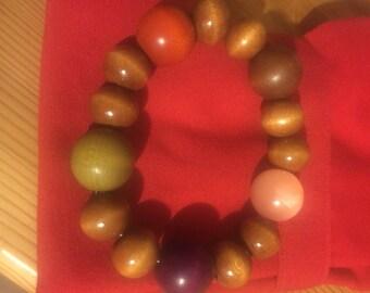 Colourful wooden beaded bracelet