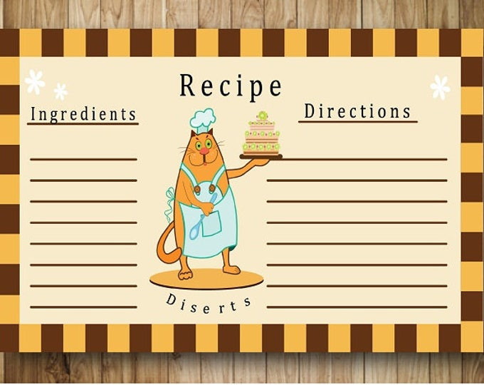 Digital card recipe cat chef. Card for recording recipes.